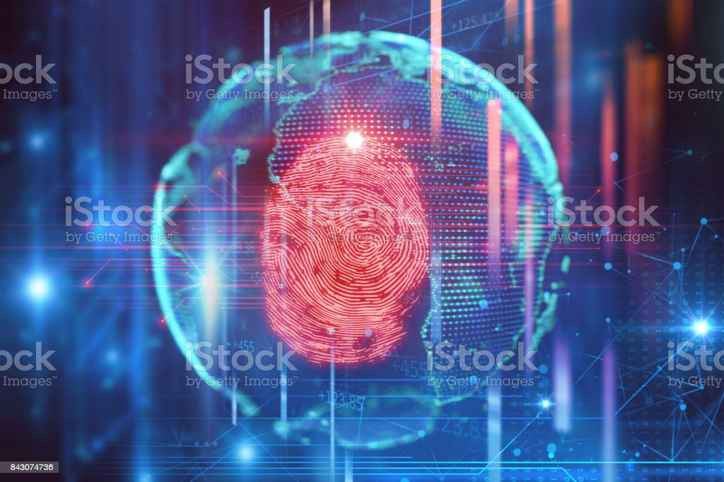 Fingerprint Scanning on blue technology  Illustration stock photo