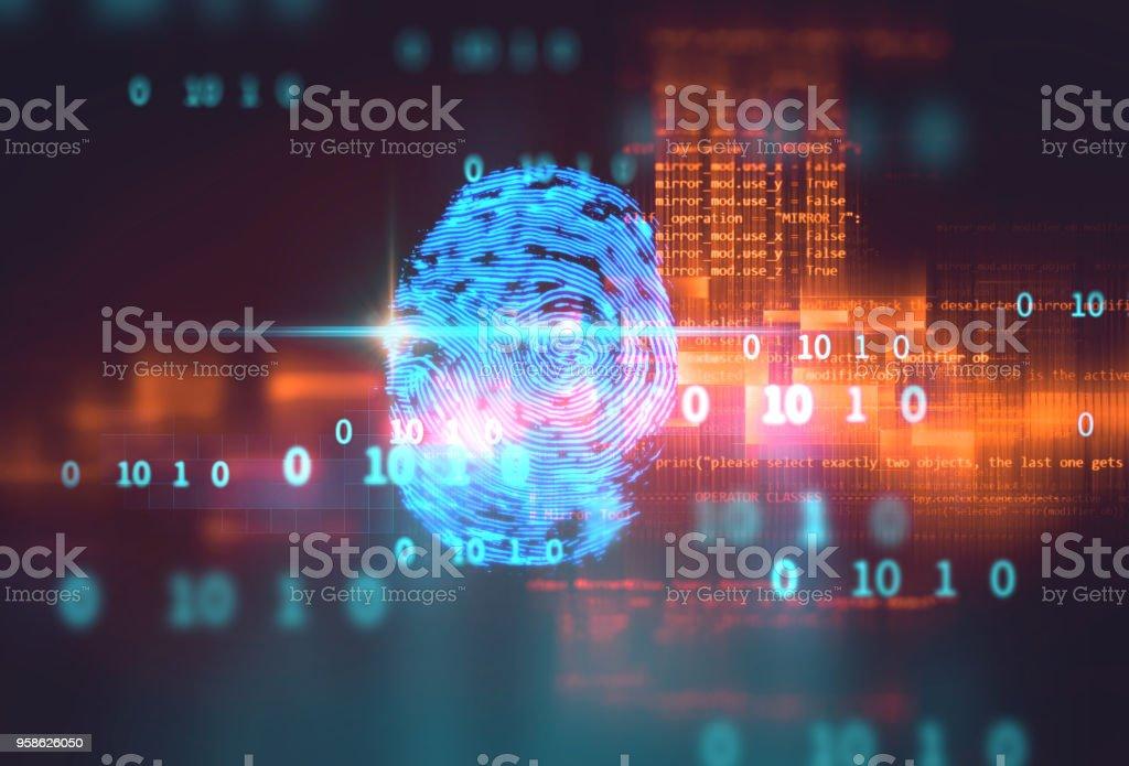 Digitalização de impressões digitais na tecnologia azul ilustração - foto de acervo