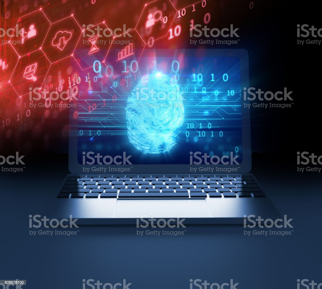 Fingerprint Scanning on laptop screen 3d illustration stock photo