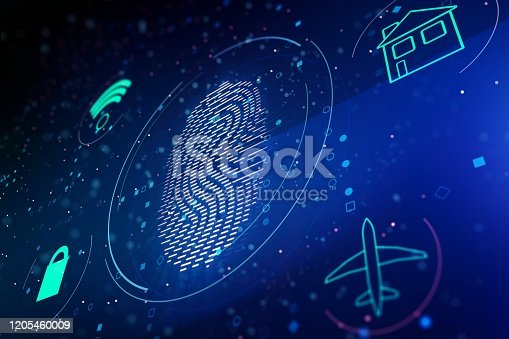 803260946 istock photo Fingerprint symbol on blue background. 3D Rendering 1205460009
