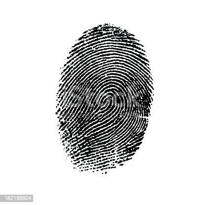 black fingerprint on a white background