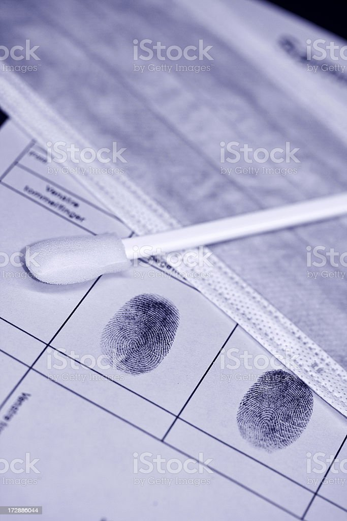 Fingerprints and DNA kit royalty-free stock photo