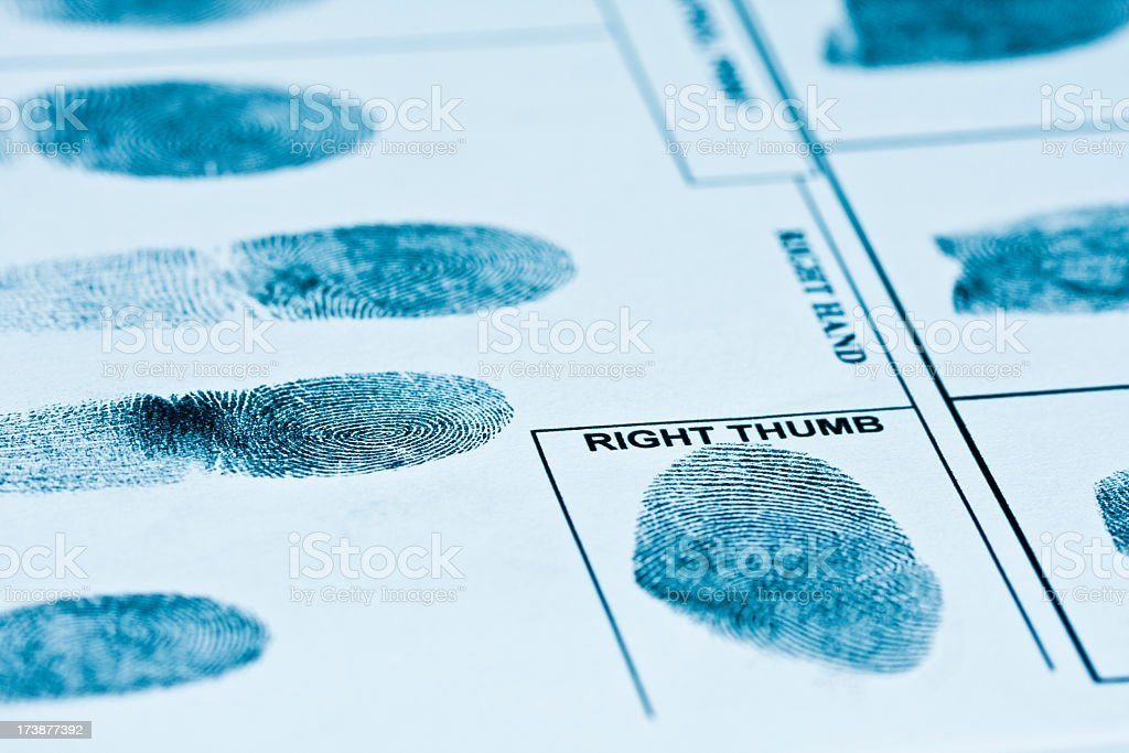 Fingerprints on authentic fingerprint form. Toned image. royalty-free stock photo