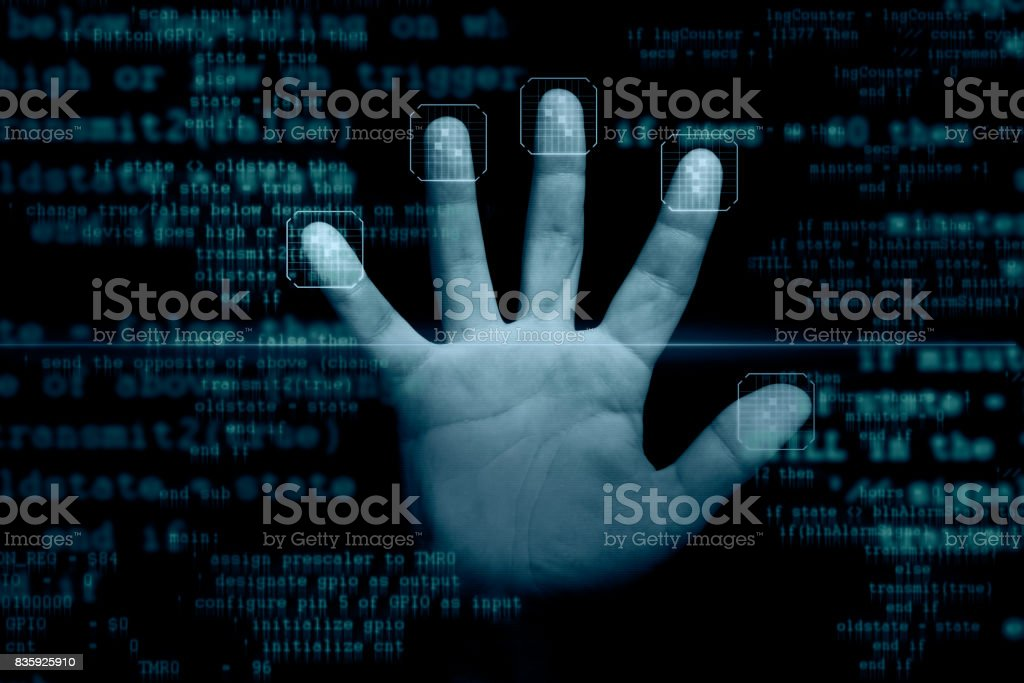 Fingerprints scanner stock photo