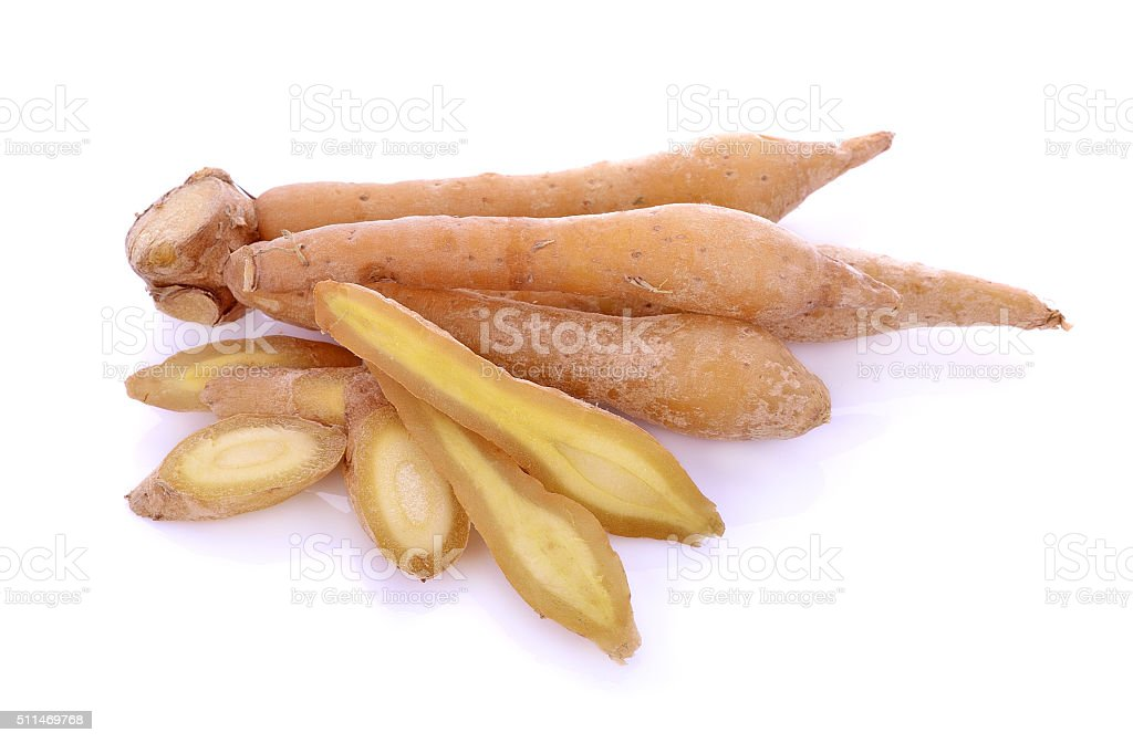 Fingerroot, Kaempfer, Boesenbergia on white background stock photo