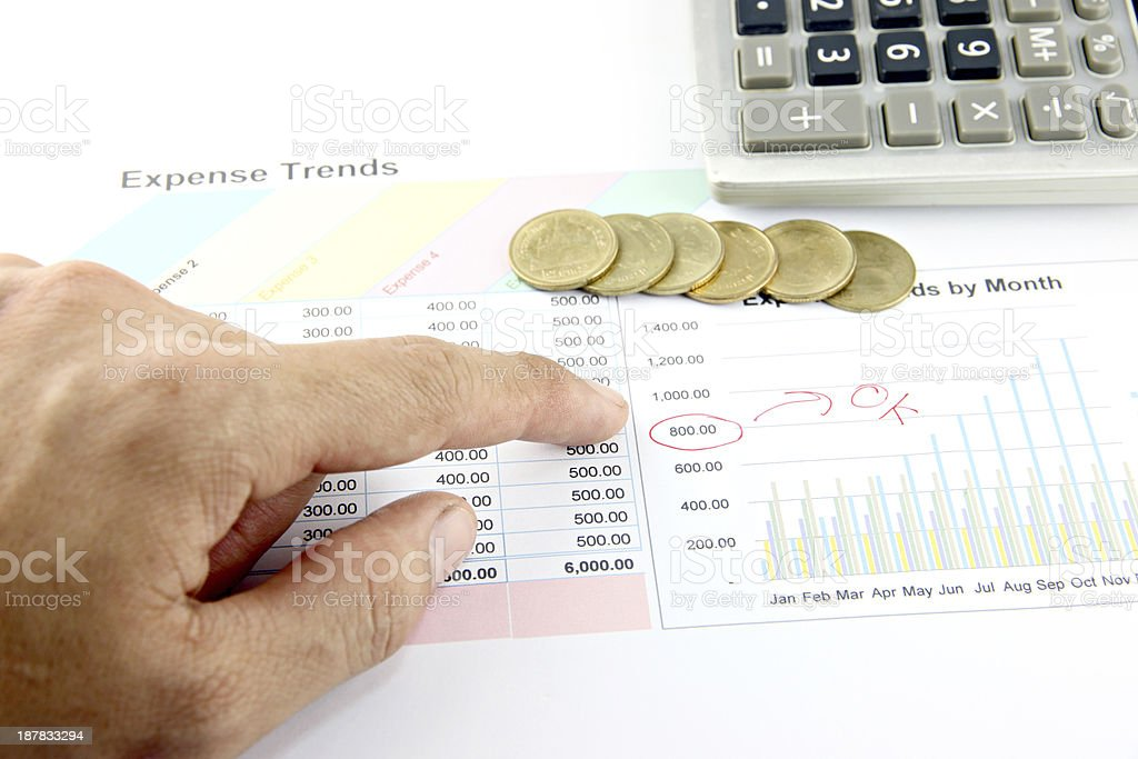 Fingers are pointing to number on Business graph. stock photo