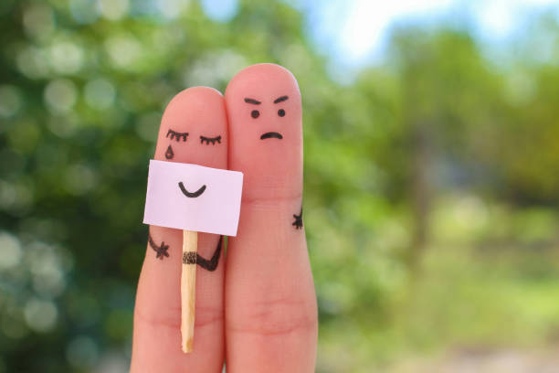 fingers art of couple. concept of woman hiding emotions, man is dissatisfied. - disingenuous stock pictures, royalty-free photos & images