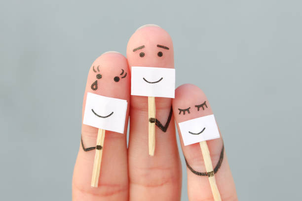 fingers art of family. concept of people hiding emotions. - disingenuous stock pictures, royalty-free photos & images