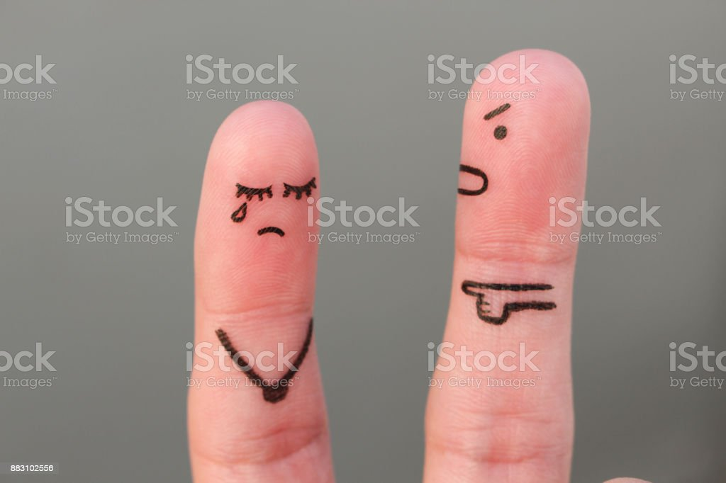 Fingers art of family during quarrel. Concept of husband shouts on wife stock photo
