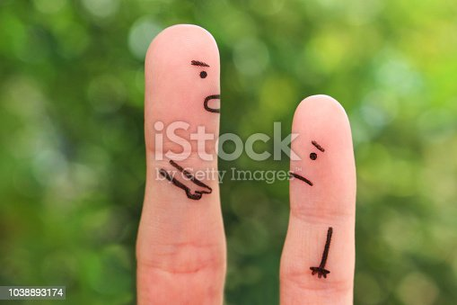 Fingers art of people. Concept of man scolding child.