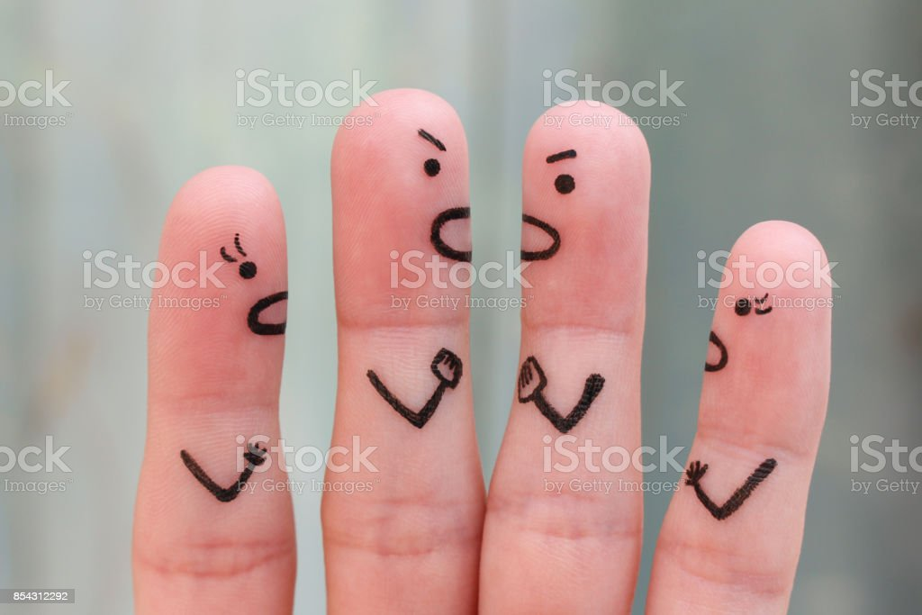 Fingers art of people during quarrel. stock photo