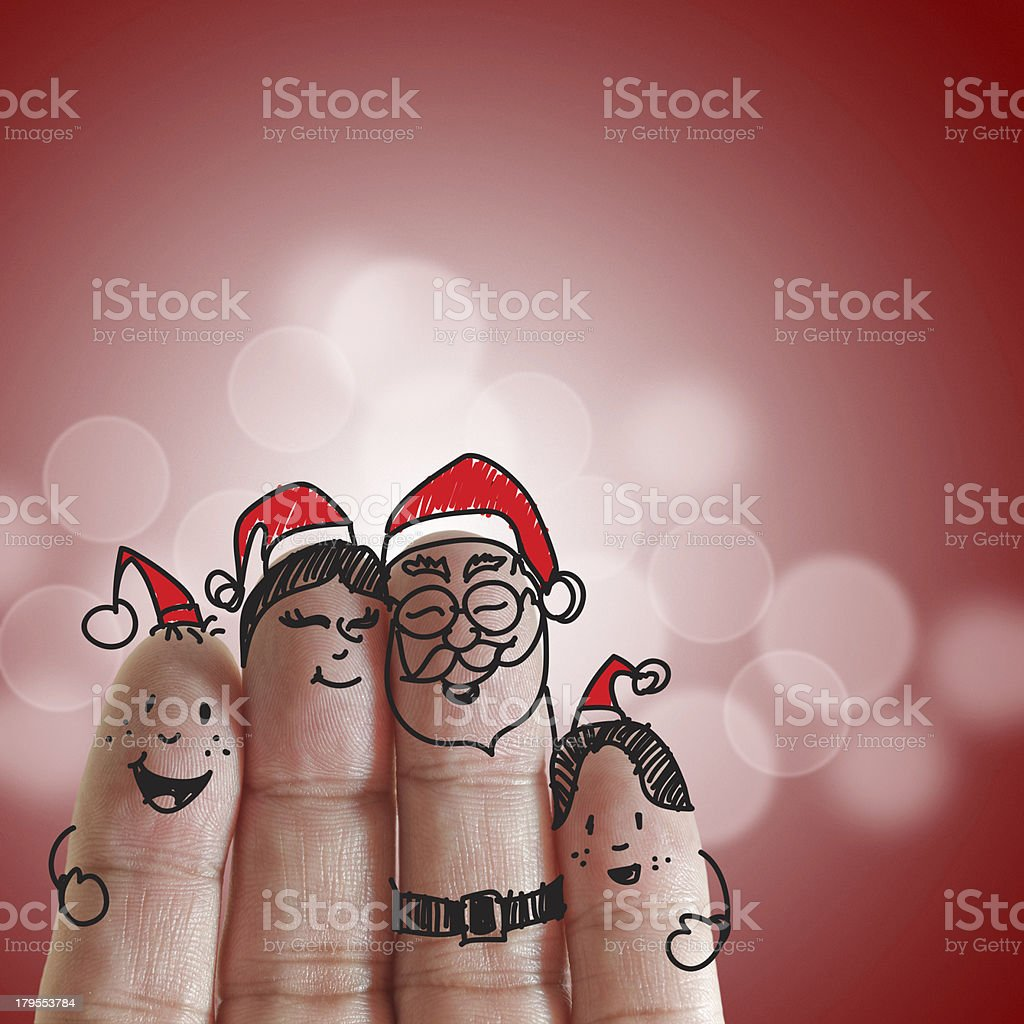 Fingers Family and christmas royalty-free stock photo
