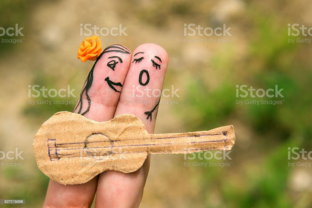 Fingers family. The art on the hand stock photo