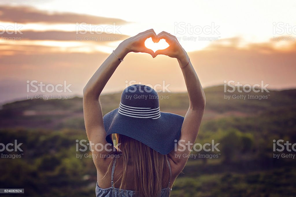 Fingers Framing Heart stock photo