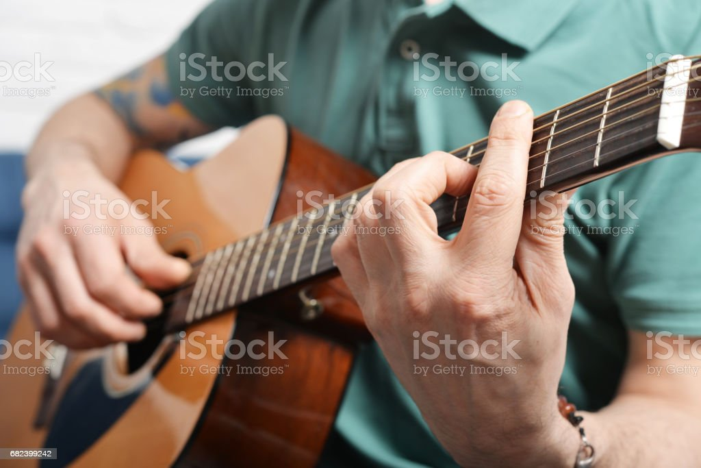 fingers from playing acoustic guitar 免版稅 stock photo