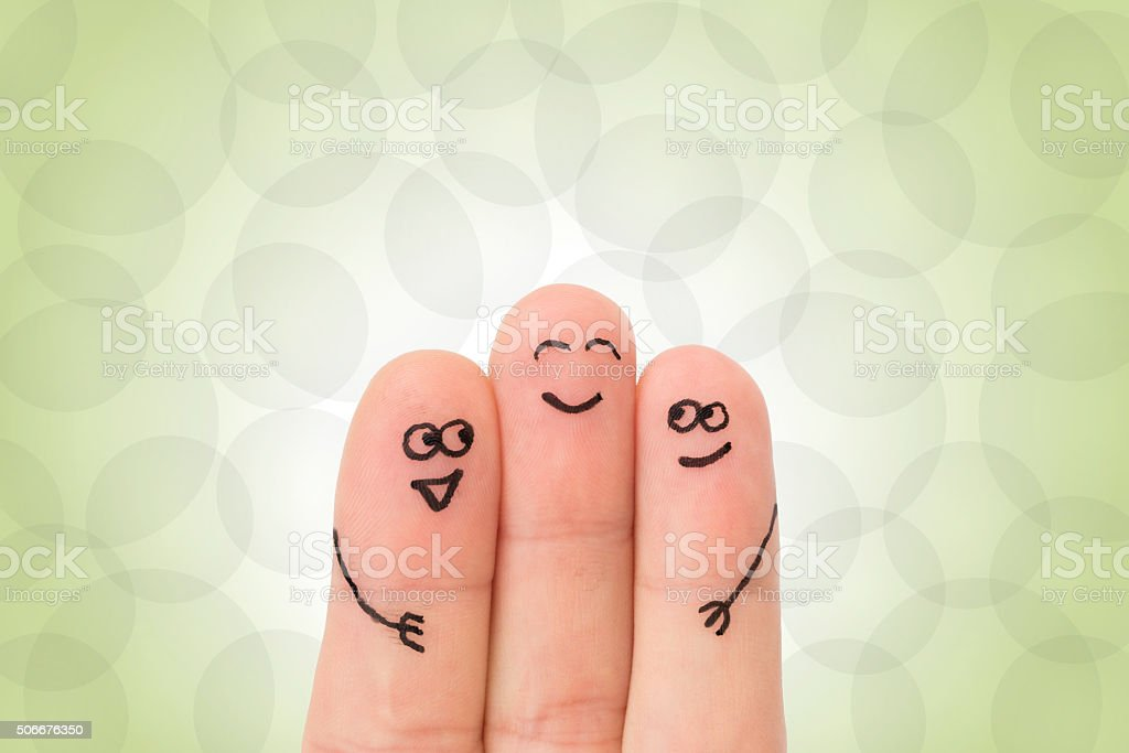 Fingers hugging with faces stock photo
