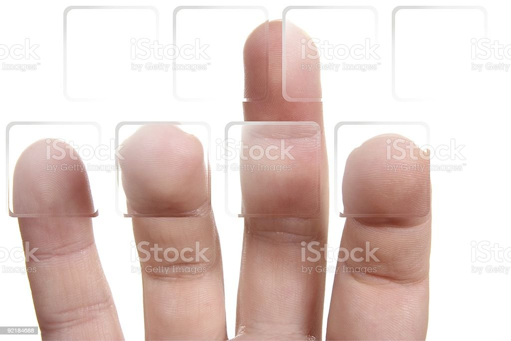 fingers on transparent buttons royalty-free stock photo
