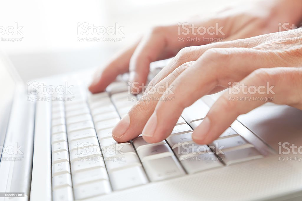 Fingers Typing on Laptop royalty-free stock photo