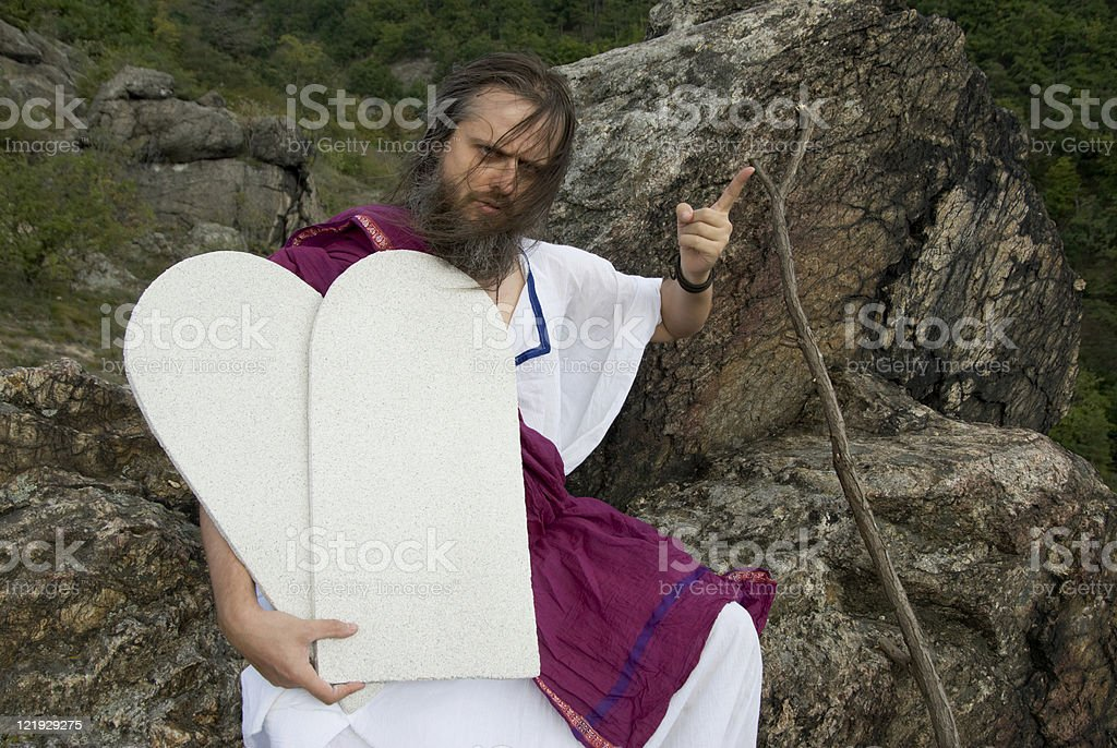Fingerzeiger Moses stock photo