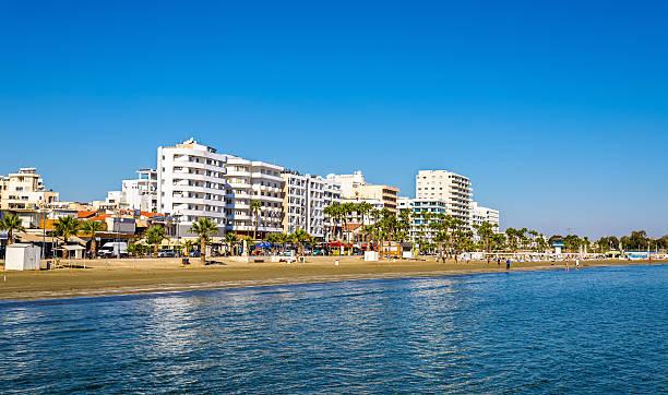 Finikoudes Beach - Larnaka City, Cyprus stock photo
