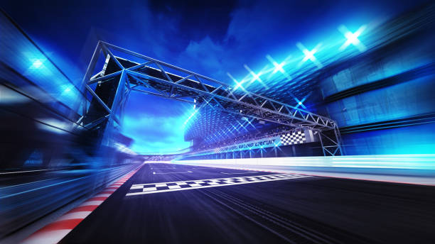 finish gate on racetrack stadium and spotlights in motion blur - race stock pictures, royalty-free photos & images
