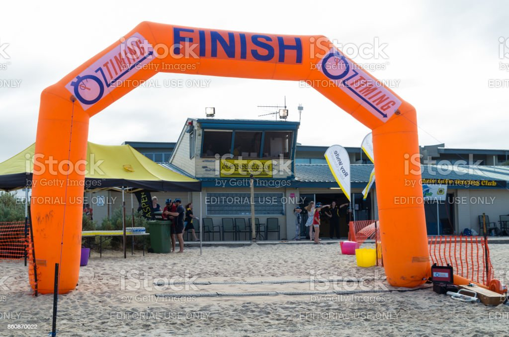 Finish line at a life saving event at Aspendale Beach in Melbourne stock photo