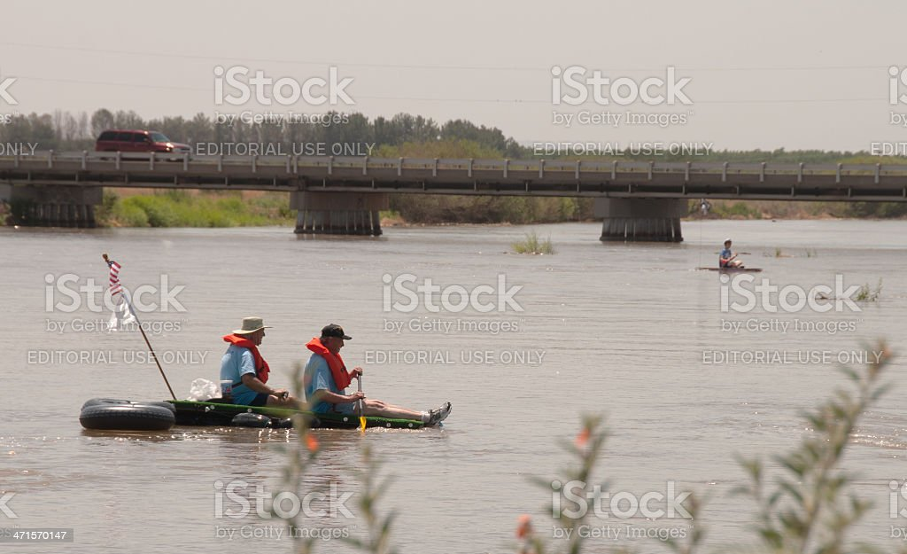 Finish Line at Raft the Rio Grande Event royalty-free stock photo