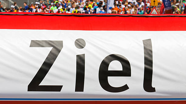 Finish Line Banner (Ziel)  ziel stock pictures, royalty-free photos & images