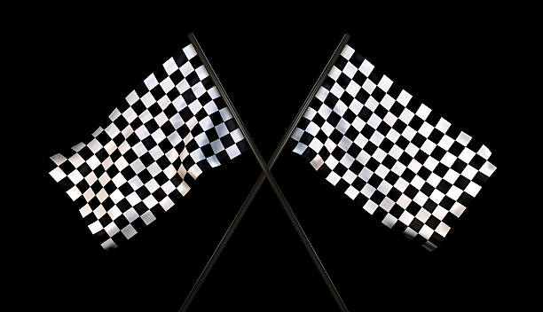 Finish Line Checkered Flags (With Cliping Path) stock photo