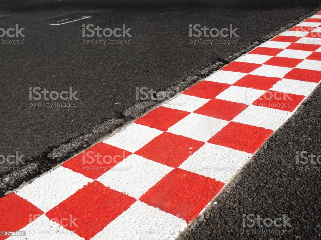 finish line in finish racetrack, red and white color stock photo