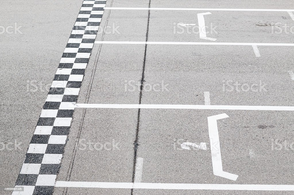 Finish line in the circuit stock photo