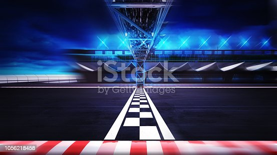 istock finish line on the racetrack in motion blur side view 1056218458