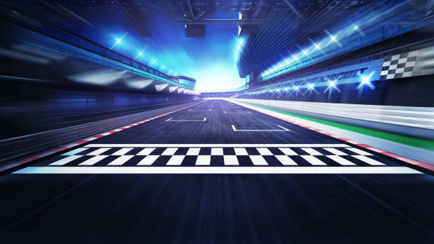 finish line on the racetrack with spotlights in motion blur - race stock pictures, royalty-free photos & images