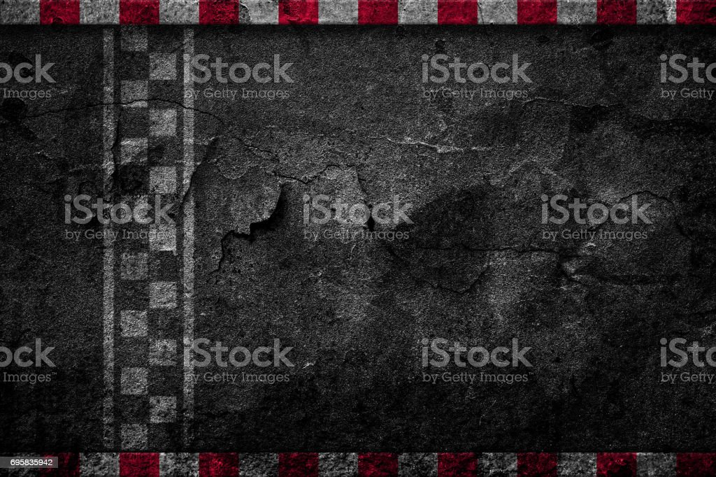 Finish line racing dilapidated background top view stock photo