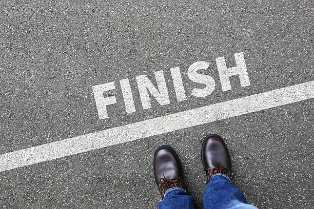 finish line winning success running race businessman business man concept - finishing stock photos and pictures