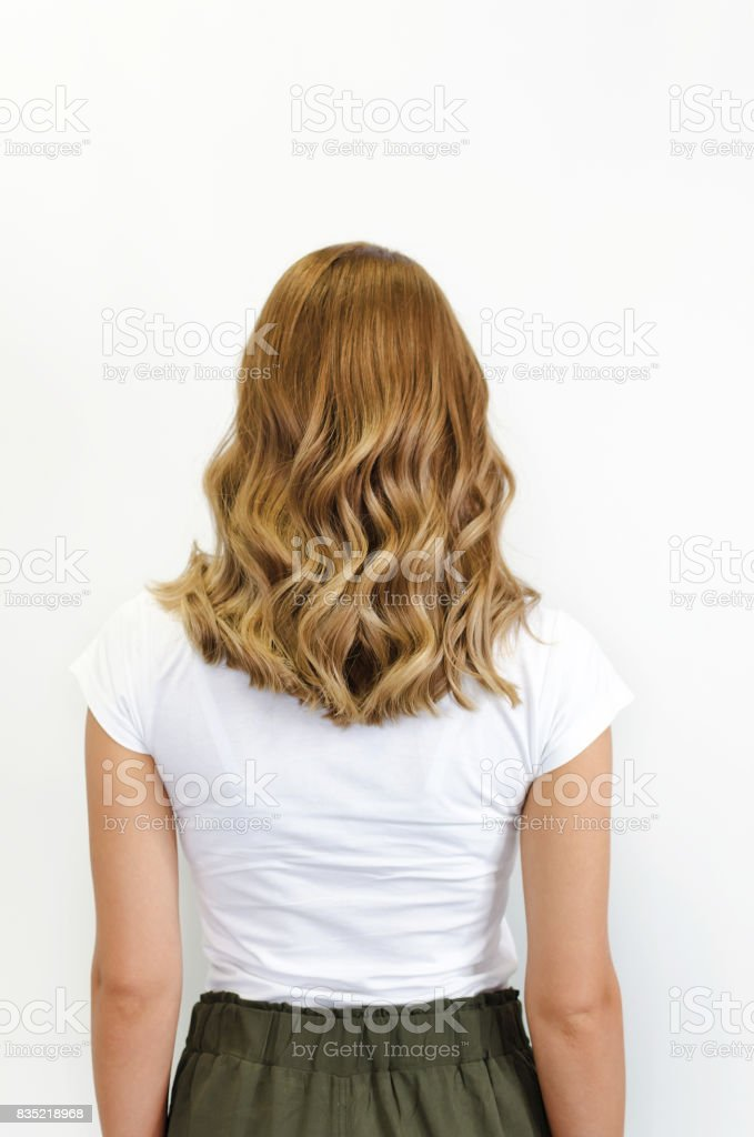 Finished curly hair stock photo