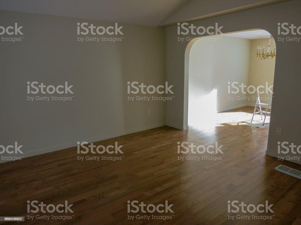 Finished Hardwoord Flooring Empty Room stock photo