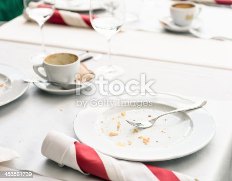 istock Finished Meal At Restaurant Table 453561739