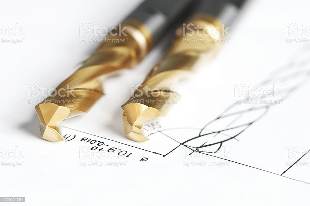 finished metal drill tools stock photo