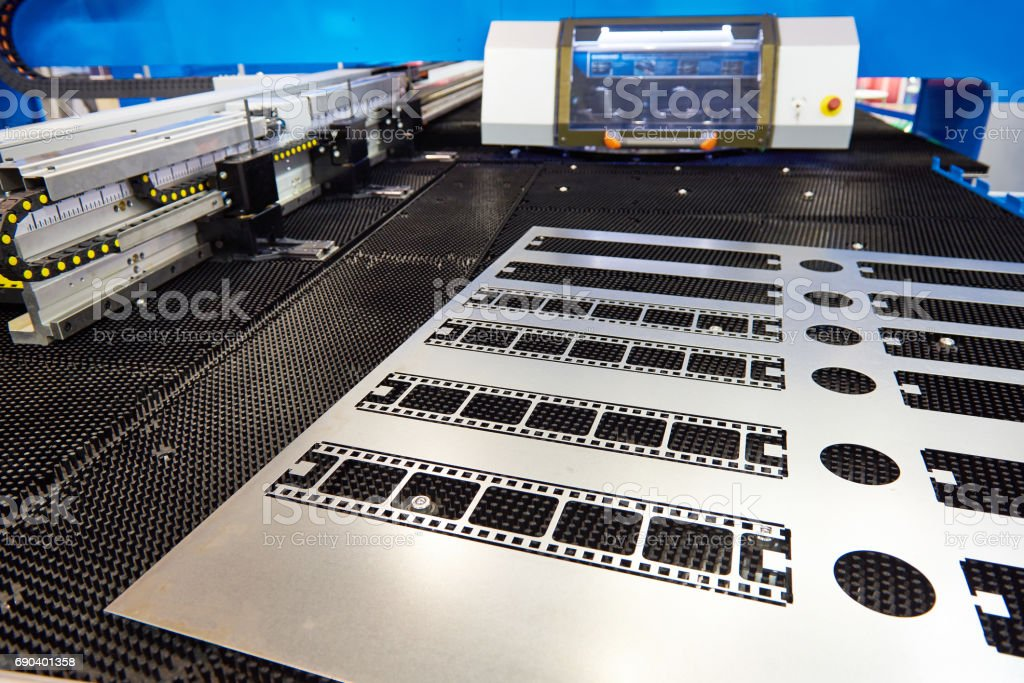 Finished product from revolving punch press stock photo