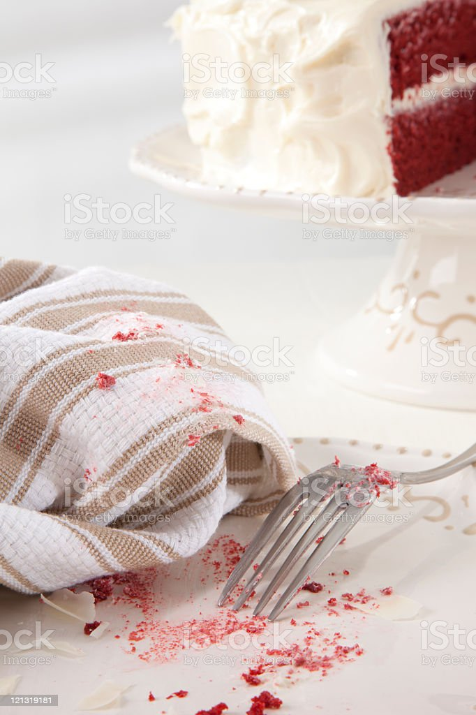 Finished Slice of Red Velvet Cake royalty-free stock photo