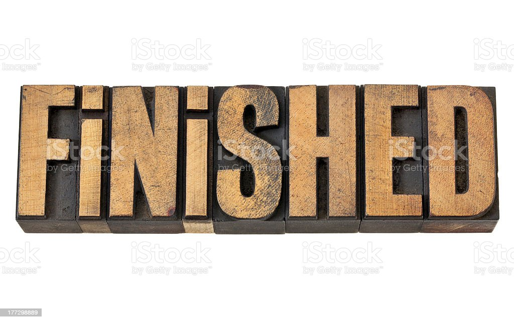finished word in letterpress wood type royalty-free stock photo