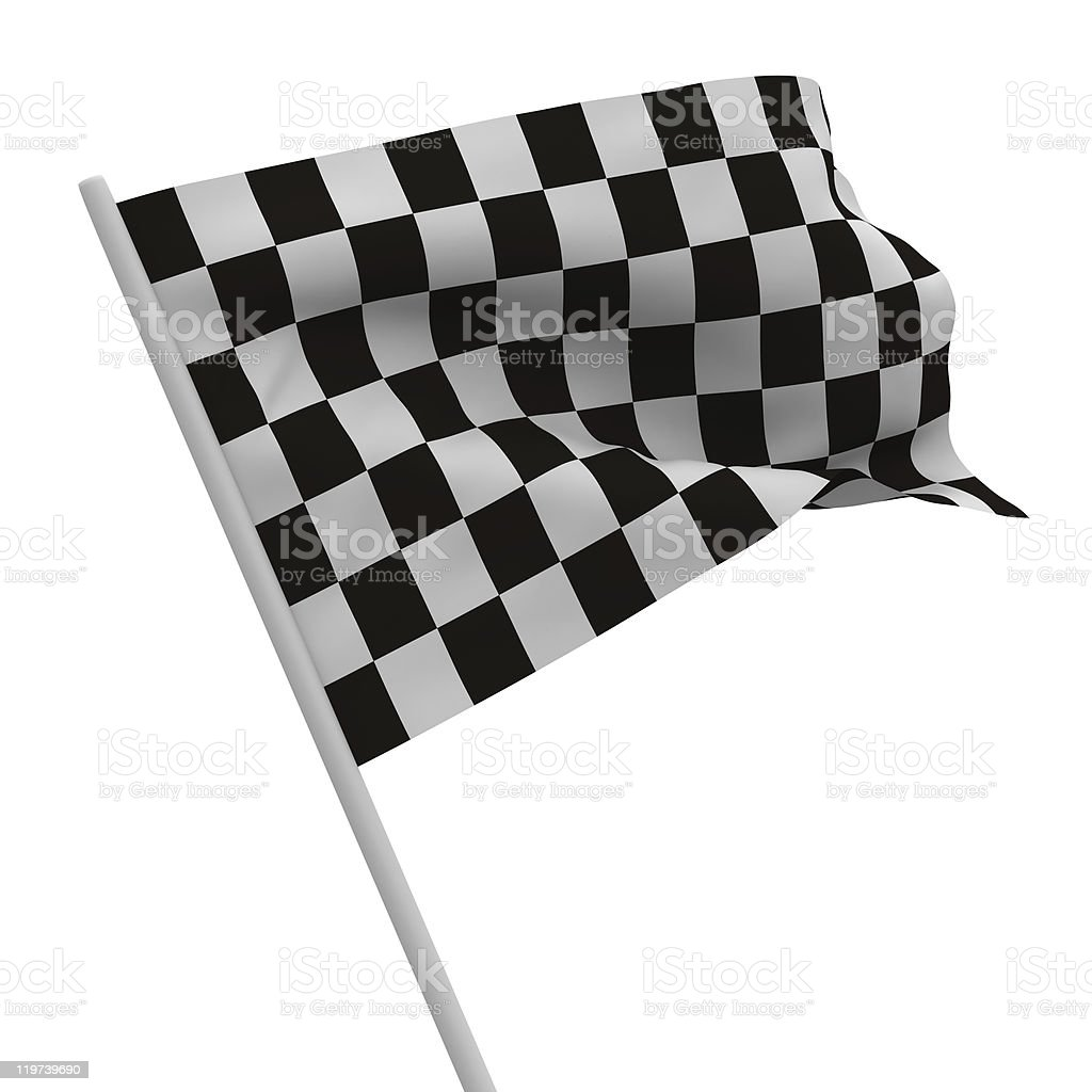 finishing checkered flag on white background. Isolated 3D image stock photo