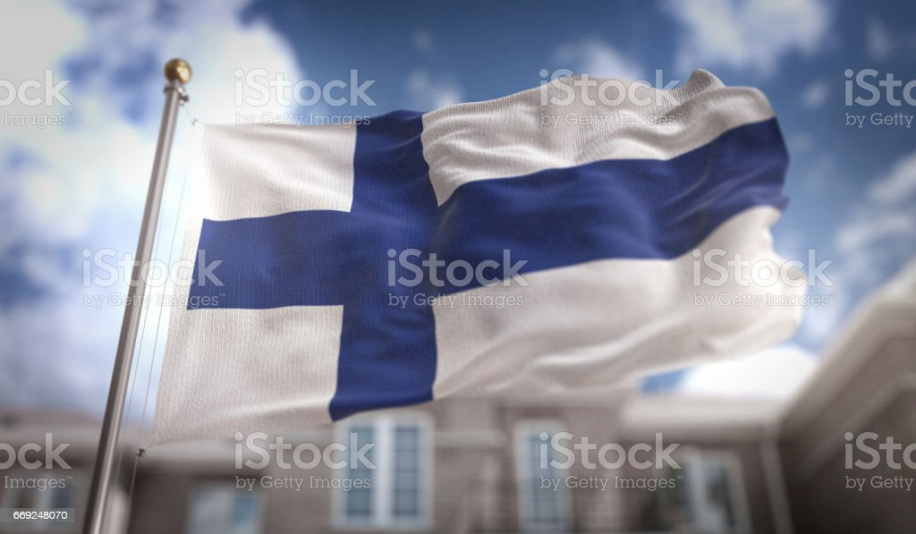 Finnland Flagge 3D Rendering auf Blue-Sky-Gebäude-Hintergrund – Foto