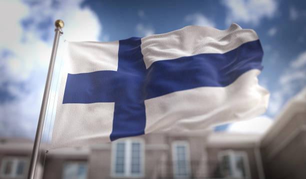 Render 3D de bandera de Finlandia sobre fondo azul Sky Building - foto de stock
