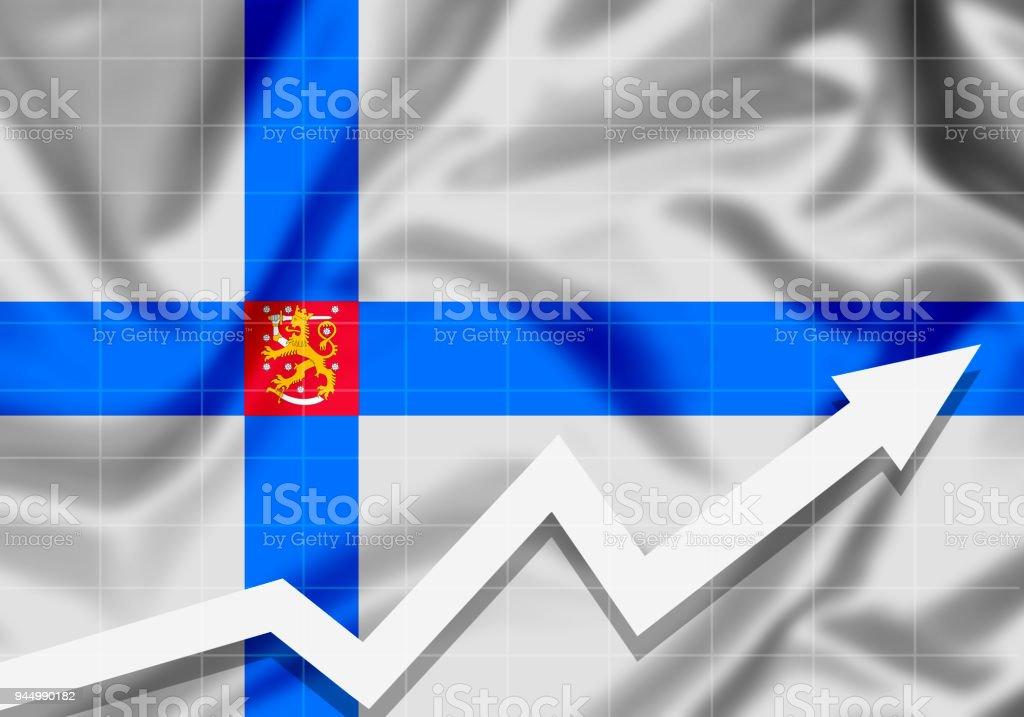EU Finland flag with up arrow stock photo