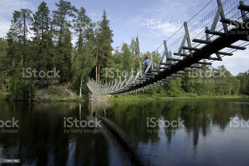 Finland Kuusamo Lake Bridge stock photo