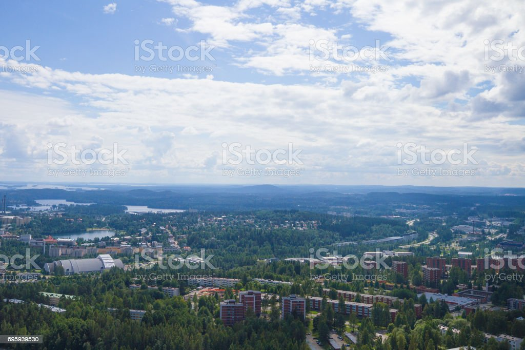 Finland lake view from Kuopio tower стоковое фото