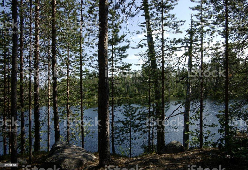 Finland lake view Kuusamo stock photo