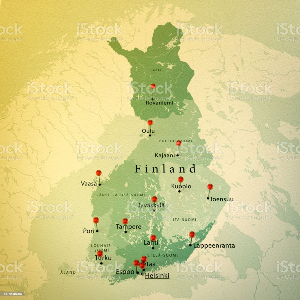 Finland Map Square Cities Straight Pin Vintage Stock Vector Art